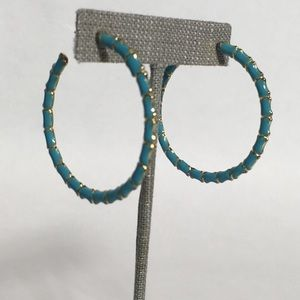 Jewelry - Blue enamel bamboo hoops